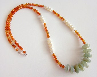 Hong Kong Necklace, Green Jade White Pearl Carnelian Necklace, Jade Pearl Carnelian Long Beaded Necklace
