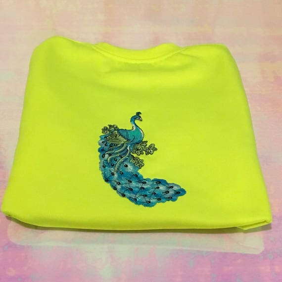 Fluorescent Yellow Peacock Back Patch Crew Neck Sweater (Unisex)