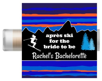 Ski Bachelorette Party Favors - Winter Theme Chapstick - Wedding Party Favors - Bridal Party Favor - Custom Lip Balm - Hangover Kit - Skiing