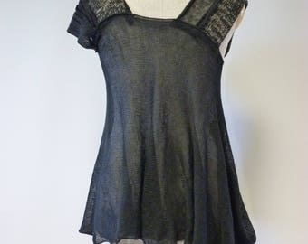 Handmade knitted patchwork black linen top, M size.