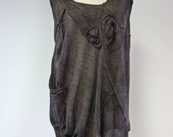 Boho transparent linen top, XL size.