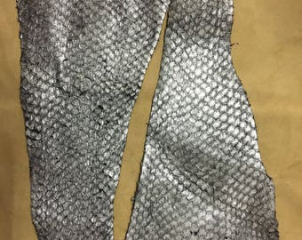 Fish leather metallic silver colour