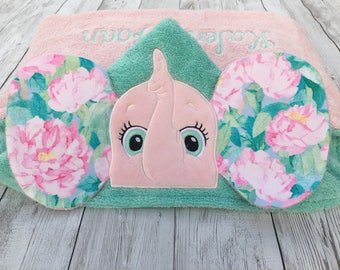 Elephant Hooded Towel, Hooded Baby Towel, Hooded Toddler Towel, Baby Shower Gift, First Birthday Gift