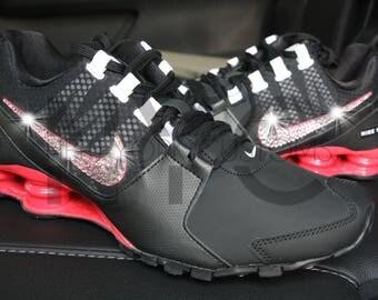 Nike Shox Avenue Black Ember Glow Swarovski Crystal Rhinestone Accent Blinged Out Custom Women