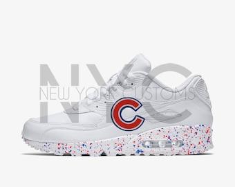 Chicago Cubs Nike Air Max 90 White Speckle Splatter Men Kids