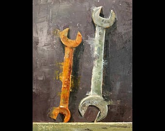 """Two Wrenches 6""""x8"""""""