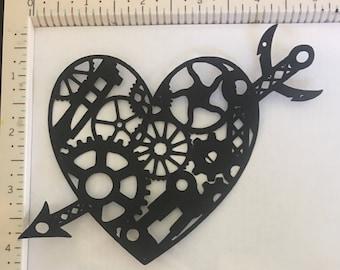 1 steampunk heart gears 5 inch wide paper die cuts