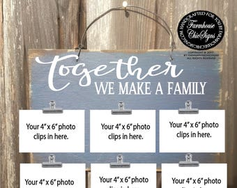 family sign, family picture frame, family tree wall art, together we make a family, together we make a family sign, photo holder, 108