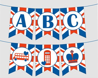 Printable Union Jack Banner with FULL ALPHABET, Numbers, London Calling. Instant Digital Download. UK Flag, England, Great Britain