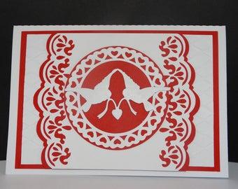 Heart Dove wedding invitation