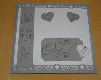 Classic gray and white wedding invitation