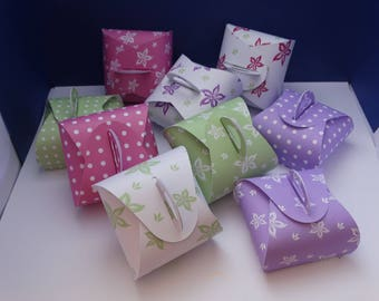 Gift-wrapped box spring flowers while