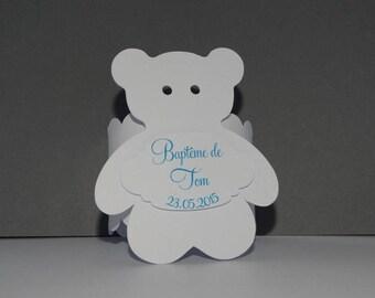 Curly white bear napkin ring