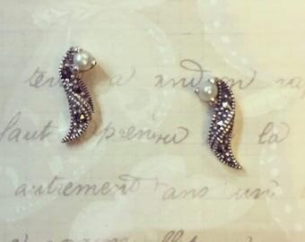Pearl Earrings Silver Marcasite Bridal Vintage Wedding
