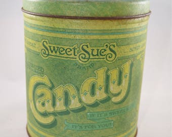 Vintage candy tin, Sweet Sue's candy tin