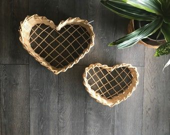 Pair of vintage baskets, vintage heart baskets, basket wall, boho basket wall, vintage decor