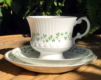 Royal Tara Tea Cup Saucer & Plate, Clover Teacup Trio Made in Galaway Ireland