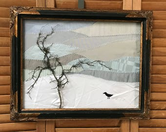 Winter Tree and Bird #1 Mixed Media Art