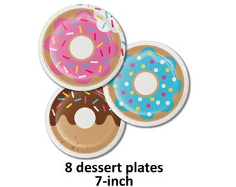 donut party dessert plates, donut grow up decorations, paper tableware, cake plates, frosted, sprinkles, icing, donuts, doughnut, snack