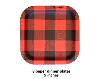 buffalo plaid plates, paper dinner plate, lumberjack birthday decorations, outdoors, mens party ideas, flannel, lodge, Christmas, rustic