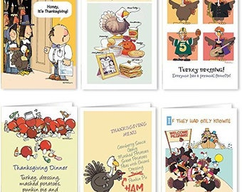 Thanksgiving Card Variety Pack - 18 Funny Thanksgiving Cards & Envelopes - 6 Humorous Designs - 901