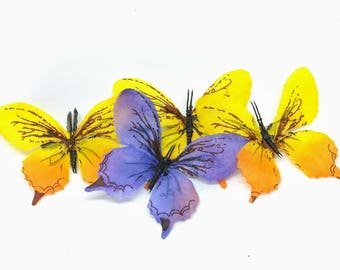 Purple and Yellow Two Inch Butterfly Hair Clip