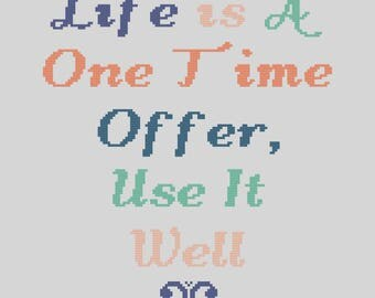 Life Is A One Time Offer, Use It Well Cross Stitch Pattern, funny quote cross stitch pattern, instant PDF download
