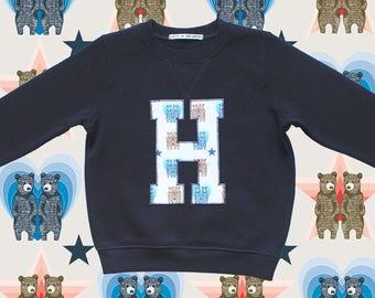 KIDS INITIAL SWEATSHIRT - Blue twin bears