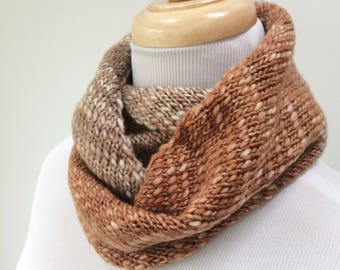 Merino Wool Scarf. Knitted Infinity Scarf. Knit Scarf for Her. Wool Neckwarmer. Merino Circle Scarf. Loop Scarf. Gift for Her under 50.