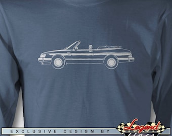Saab 900 Turbo Convertible Long Sleeves T-Shirt Lights of Art, Multiple colors available, Size: S - 3XL, Great Swedish Classic Car Gift
