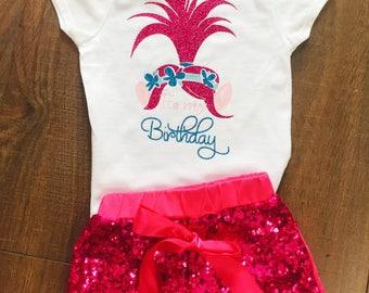 Girl's Trolls Poppy Birthday Shirt