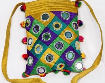 Rustic Mirror Embroidered Tribal Sling Bag with Pom Pom Tassel, Dupion Silk
