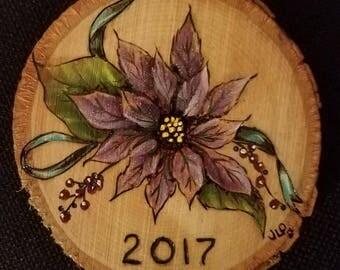 Purple Pointsettia Ornament