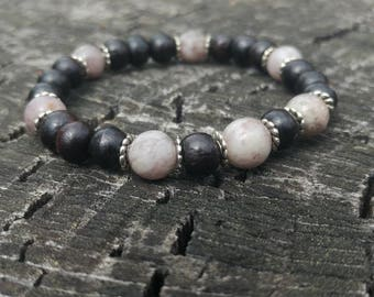 Lilac Stone & Rosewood Wrist Mala // Unisex Rosewood and Gemstone Wrist Mala // Pale Purple Stone and Wood Meditation Bracelet