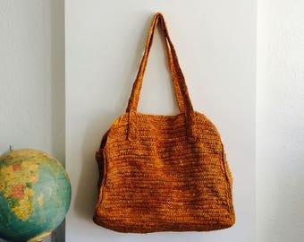 "Large 18"" straw bag| vintage straw bag| straw marketbag| orange vintage strawbag| very large straw bag| handwoven bag"