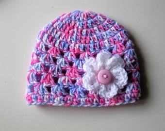 Limited Edition Handmade Crochet 0-3 Month Hat in Pink ,Purple and White Mix with a white Flower finished with a pink button,Photo Prop,Girl
