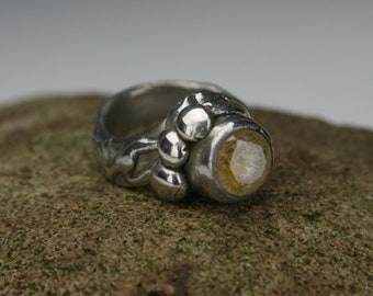 Sterling Ring: Precious Metal Clay with lab grown stone