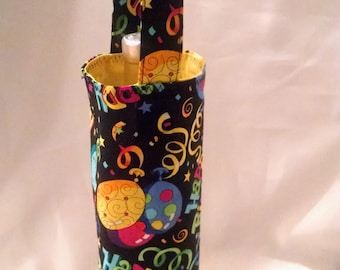wine tote, Happy Birthday gift bag for him or her, festive gift bag