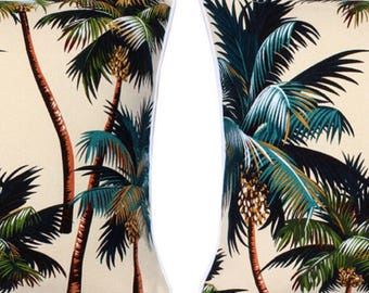 Pair of Tropical Cushion Covers - Palm Tree Natural, Monstera Leaf Island Fabric Polynesian Hawaiian December Only