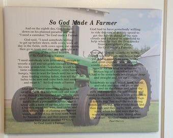 Custom Photo So God Made A Farmer by Paul Harvey Canvas or Wood Sign - Christmas, Father's Day Gift, FFA, Birthday Gift