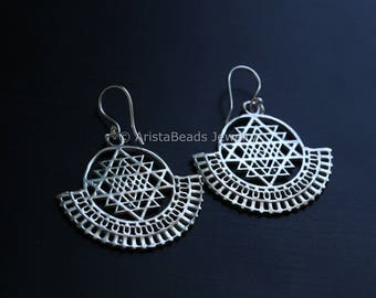 Shri yantra Earrings, Brass tribal earrings, White Brass Dangle, Tribal Hoops, Ethnic earrings, Tribal Earrings, filigree earrings