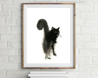 Cat Minimalist Art Print, Cat Painting, Watercolor Print, Cat Wall Art, Black and white cat art, fine art print of cat