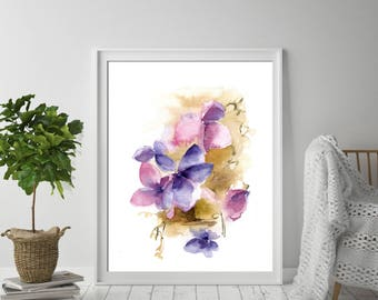 Abstract botanical print, fine art print from watercolor painting, abstract flowers print, floral modern wall art print