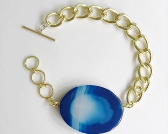 Blue Agate Slice Chunky Bracelet