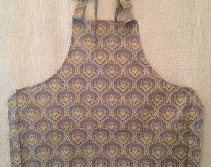 Tween Grey and Yellow Damask Apron with Large Pockets. Teen Pre-Teen Apron. Classic French Damask Apron fits Ages 8-12