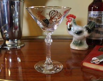 Vintage Martini Glass, Retro Martini Glass, Martini Glass with Rooster and Gold Starburst, Stemmed Cocktail Glass, Midcentury Barware
