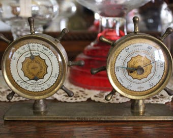 Vintage Ship's Wheel Barometer, Desktop Weather Station, Nautical Barometer and Thermometer, Brass Barometer, Swift & Anderson Barometer