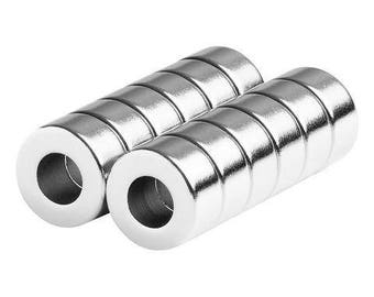 1/2 x 1/4 x 1/4 Inch Neodymium Rare Earth Ring/Donut Magnets N42 (12 Pack)