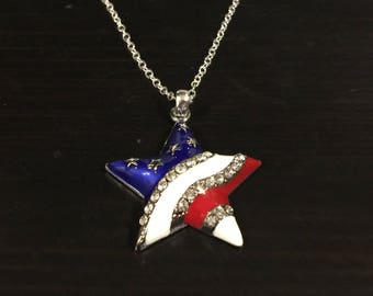 USA American Flag Patriotic Star Rhinestone Necklace Great for 4th of July
