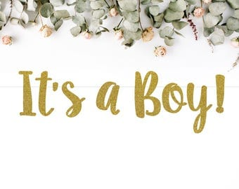 IT'S A BOY! (S7) - glitter banner / baby shower banner / gender reveal party / decoration / sign / backdrop